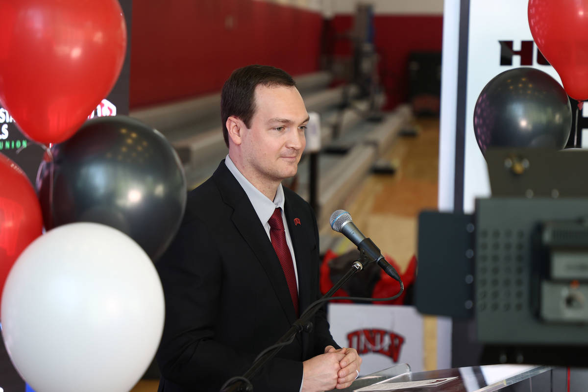 Kevin Kruger is introduced Monday as the new men's basketball coach at UNLV. Photo by UNLV athl ...