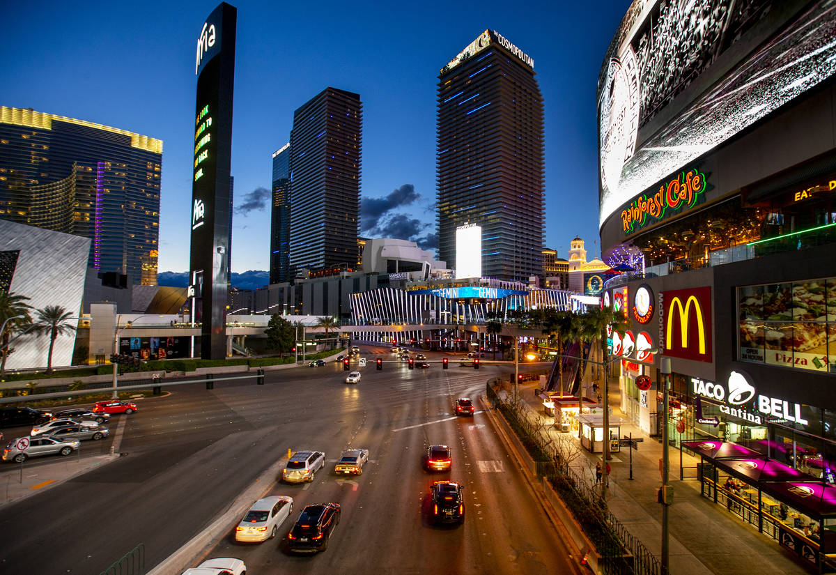 The Cosmopolitan of Las Vegas is seen Tuesday, March 16, 2020. (L.E. Baskow/Las Vegas Review-Jo ...