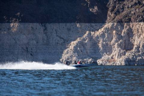 A boat cruises through The Narrows at Lake Mead National Recreation Area outside of Las Vegas, ...