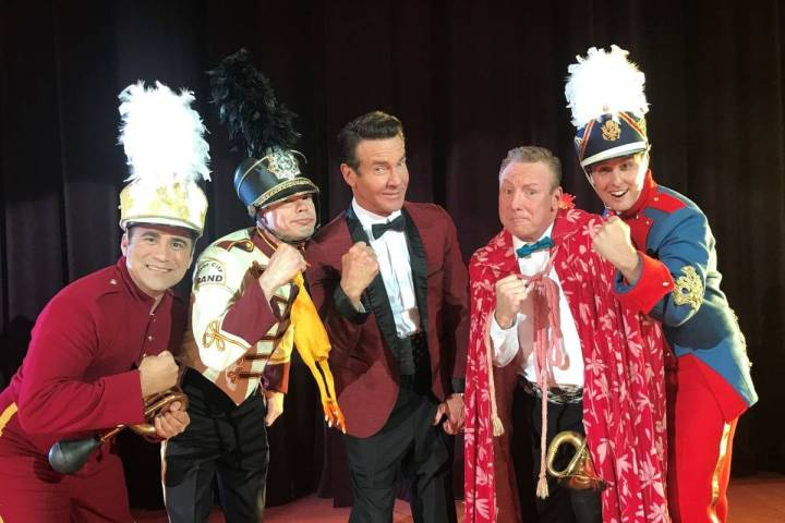 Dennis Quaid, middle, plays Ronald Reagan and Las Vegas comic Butch Bradley, second from right, ...
