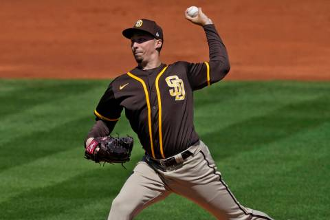 San Diego Padres starting pitcher Blake Snell throws against the Los Angeles Angels during the ...