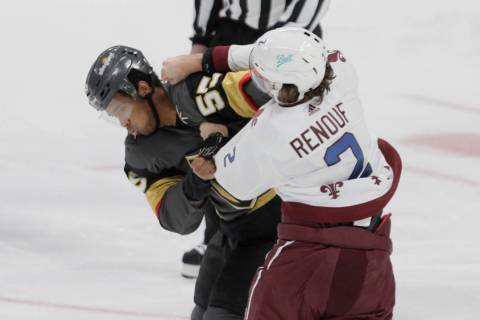 Vegas Golden Knights right wing Keegan Kolesar (55) fights Colorado Avalanche defenseman Dan Re ...