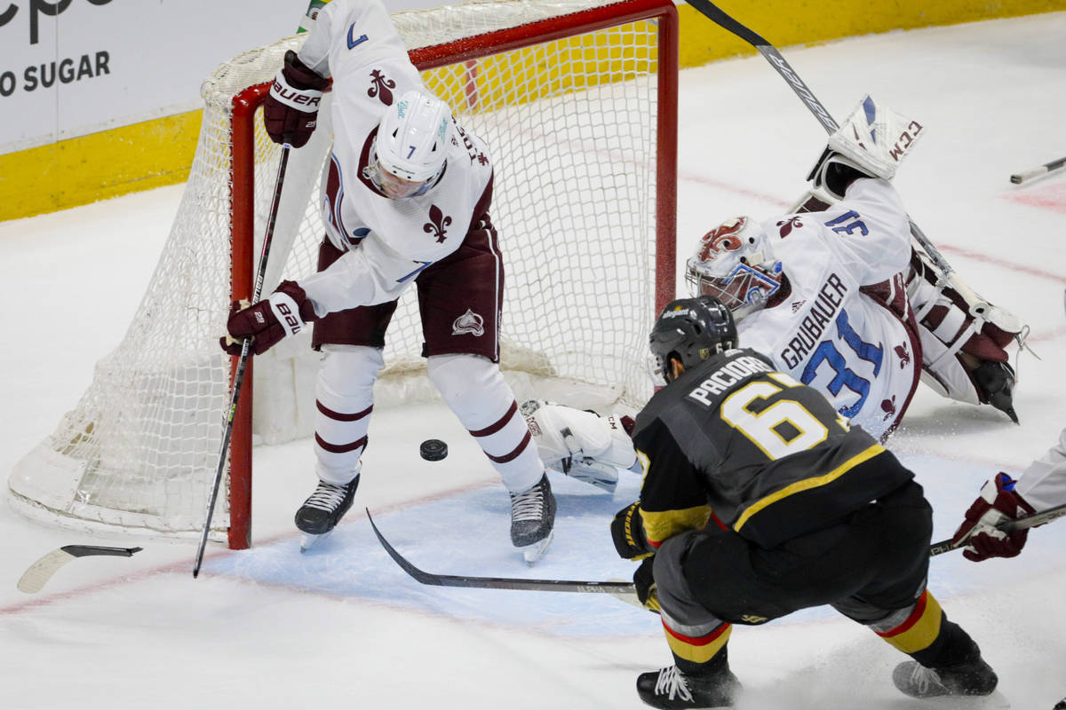 Vegas Golden Knights left wing Max Pacioretty (67) scores the winning goal as Colorado Avalanch ...