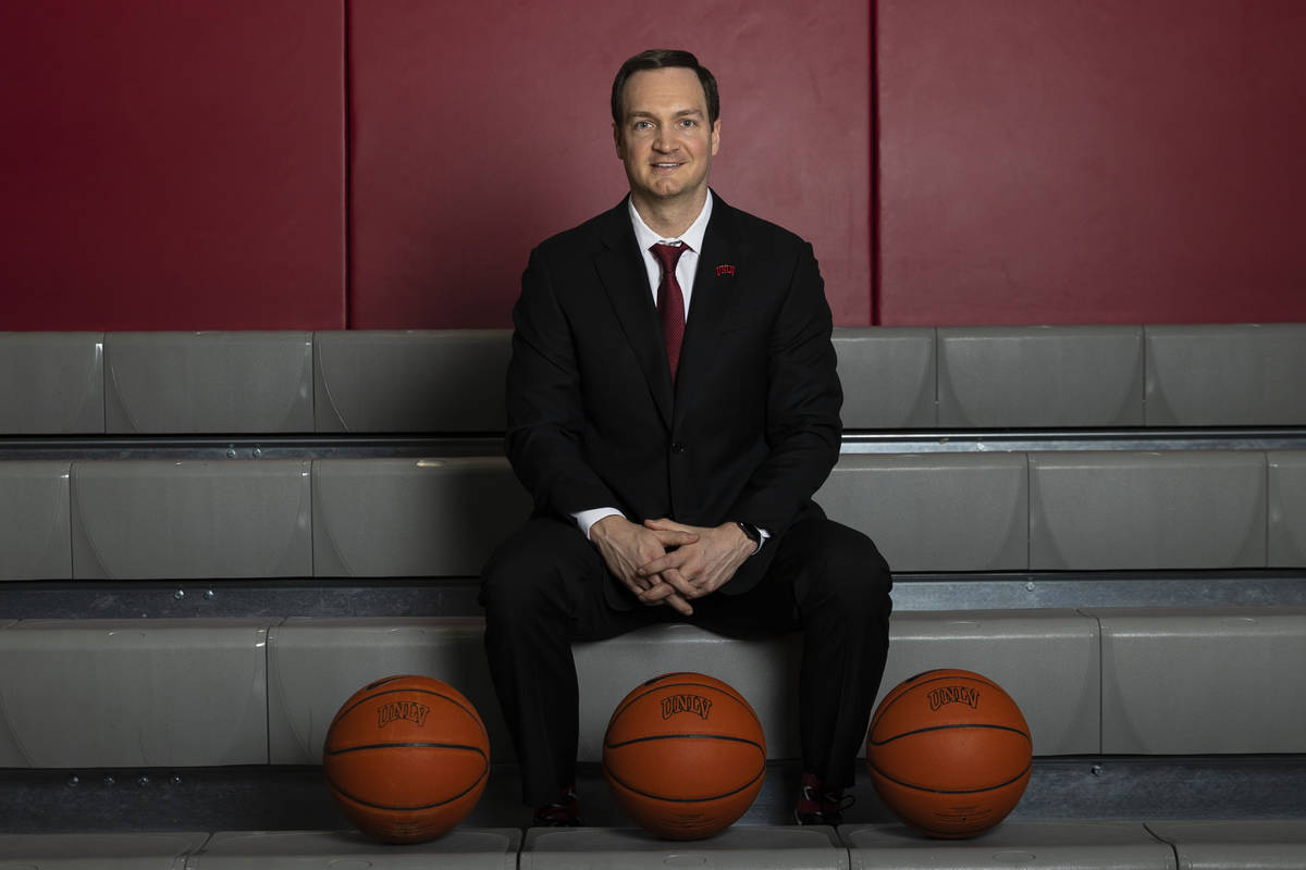 UNLV men's basketball coach Kevin Kruger poses for a photo on Friday, March 26, 2021, in Las Ve ...