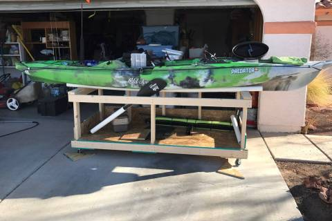 Storing your fishing kayak in the desert can be challenge. The PVC rails on this homemade cart ...