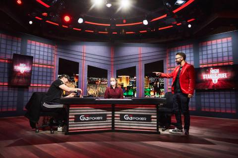 "Daniel Negreanu acknowledges Phil Hellmuth after Hellmuth won their ""High Stakes Duel"" broadcas ..."