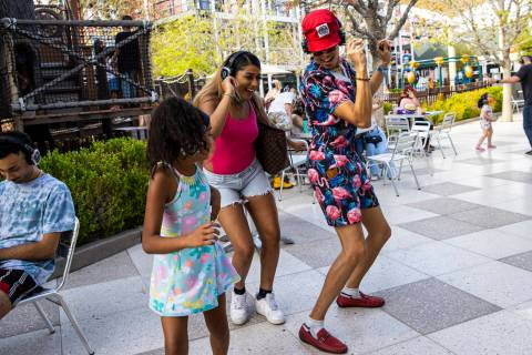 Kady Phillips, 9, second from left, of Las Vegas, dances with siblings Aya Phillips, third from ...