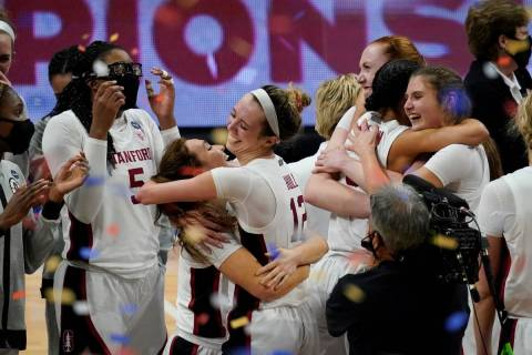 Stanford players celebrate at the end of the championship game against Arizona in the women's F ...