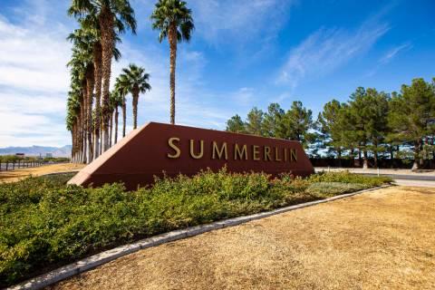 A sign for Summerlin on Summerlin Parkway, near Rampart Boulevard in Las Vegas on Thursday, Nov ...