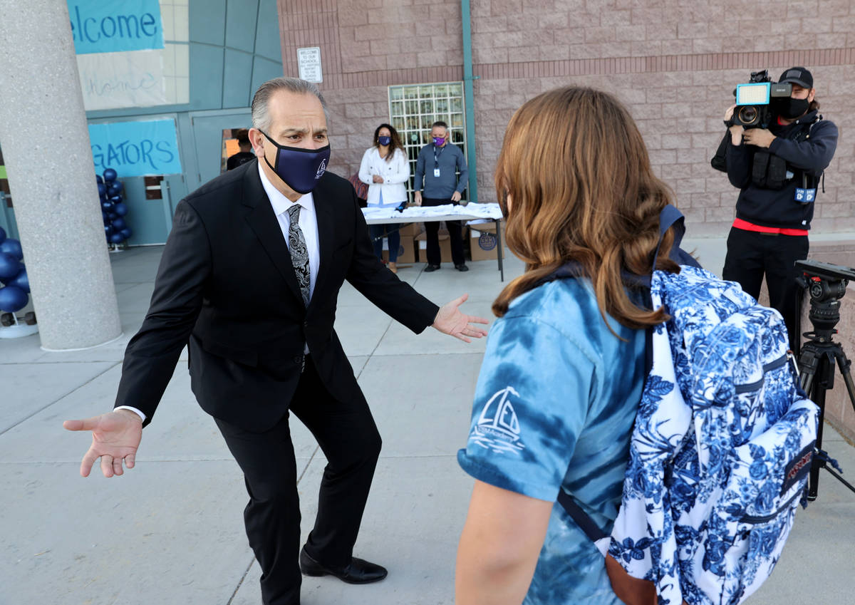 Superintendent Jesus Jara welcomes students for their first day of in-person education at Lied ...