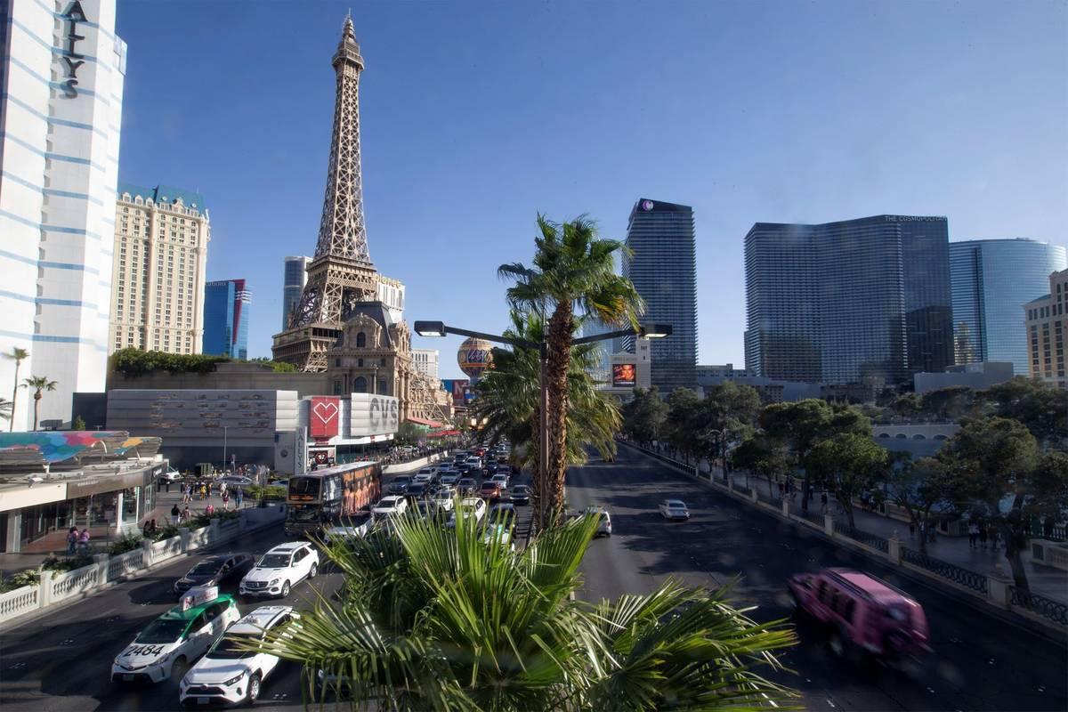 Traffic on the Las Vegas Strip on Tuesday, April 6, 2021. (Ellen Schmidt/Las Vegas Review-Journ ...