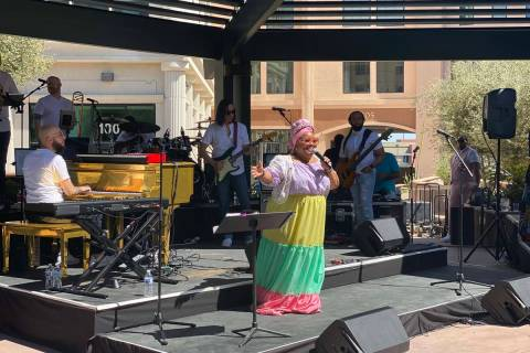 Skye Dee Miles performs at Gospel Brunch at DW Bistro on Sunday, April 4, 2021. (John Katsilome ...