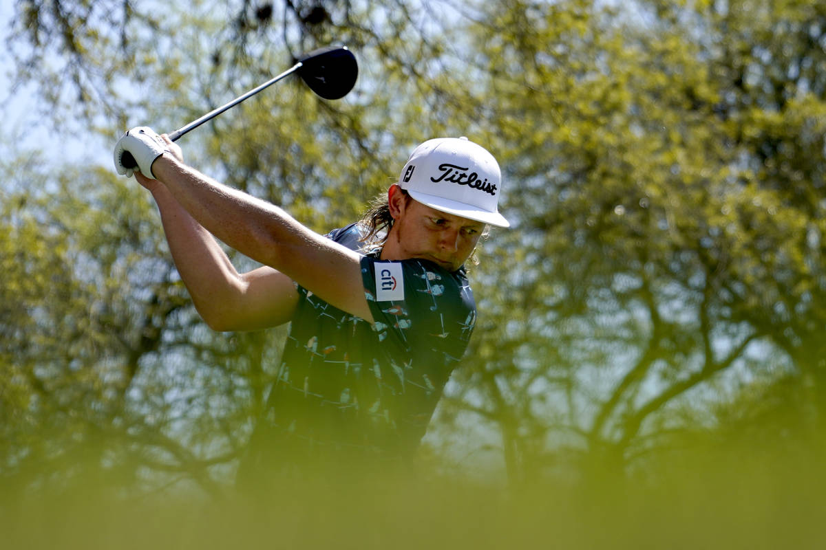 Cameron Smith, of Australia, tees off on the No. 8 hole during a third round match at the Dell ...