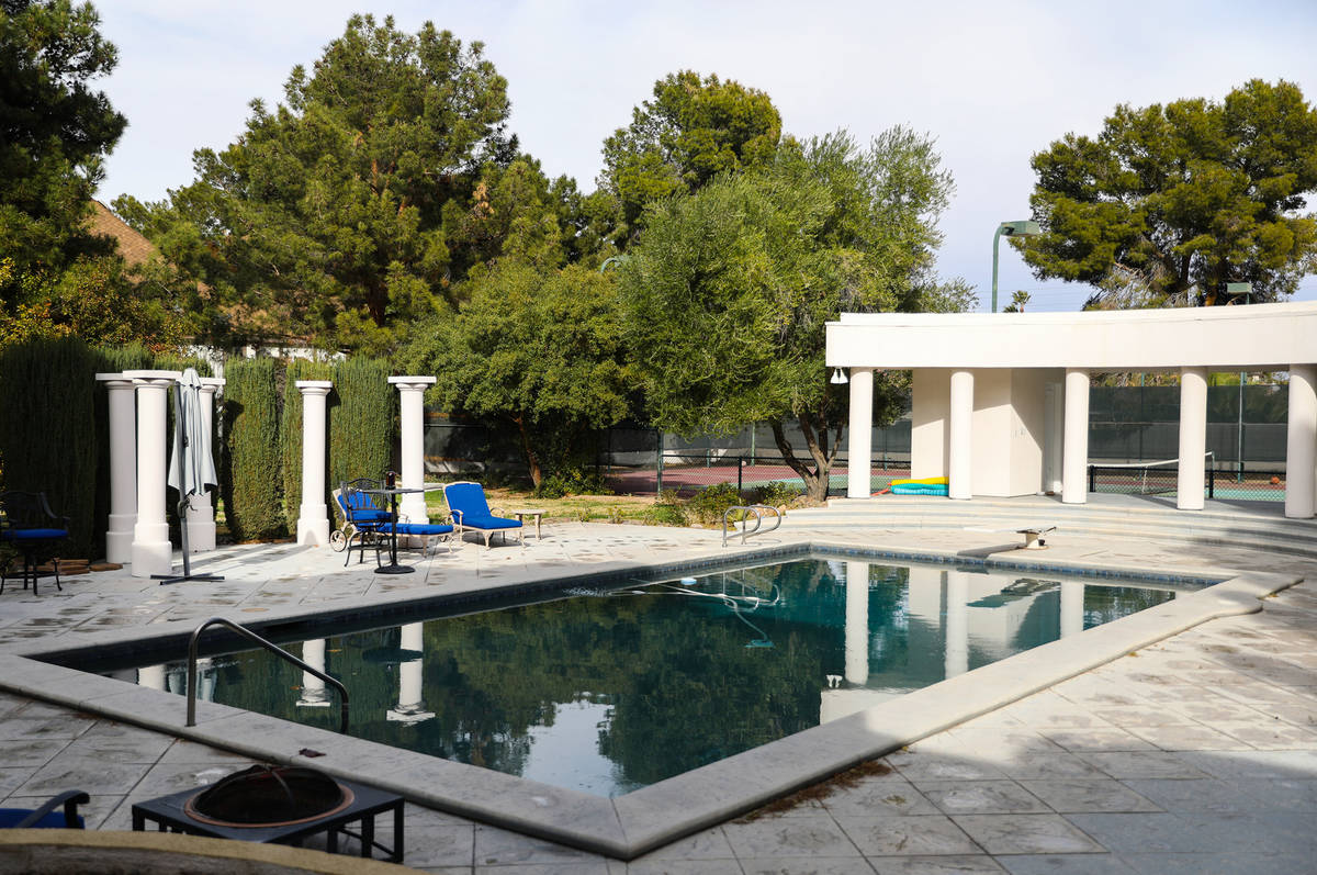 The backyard at Society Las Vegas, a content house owned by Clubhouse Media where influencers l ...