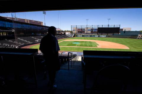 Las Vegas Aviators president Don Logan looks out at at Las Vegas Ballpark in Downtown Summerlin ...