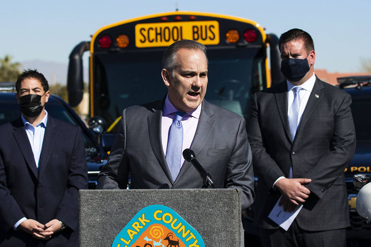 Clark County School District Superintendent Jesus Jara, speaks on school zone safety during a p ...