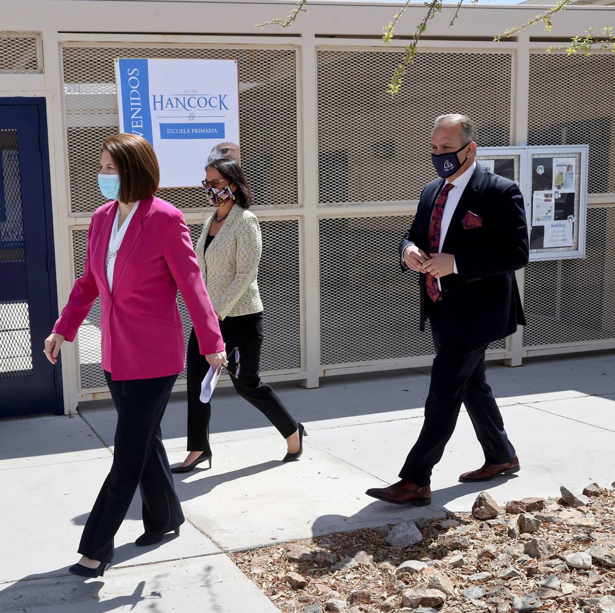 Sen. Catherine Cortez Masto, D-Nev., left, visits Hancock Elementary in Las Vegas Wednesday, Ap ...