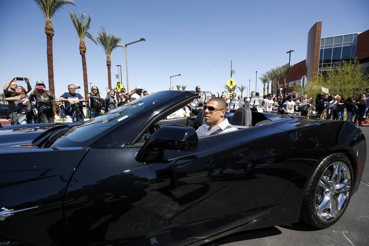 Golden Knights right wing Ryan Reaves leaves the City National Arena as fans cheer during a sen ...