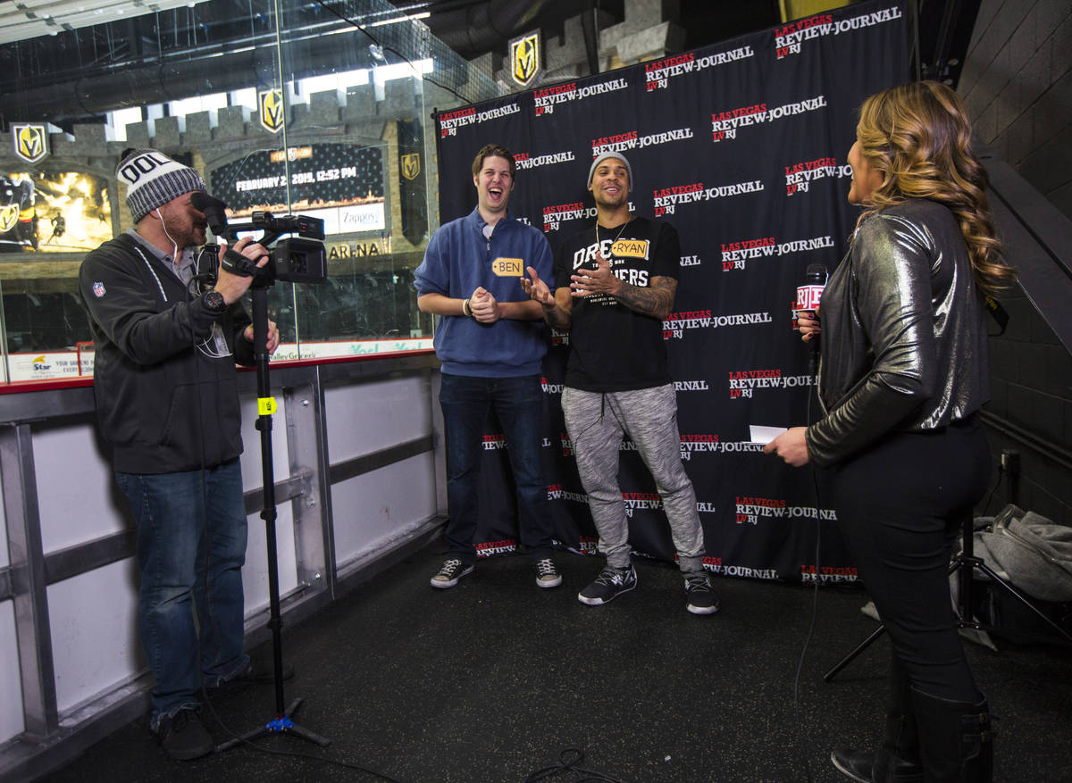Review-Journal reporter Ben Gotz, second from left, is joined by Golden Knights forward Ryan Re ...
