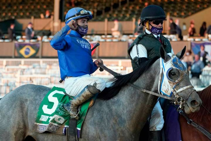 Jockey Luis Saez and Essential Quality are led to the winner's circle after winning the Breeder ...