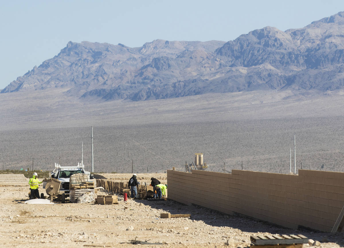 Construction is underway for a new housing community at Skye Canyon, on Friday, April, 9, 2021, ...
