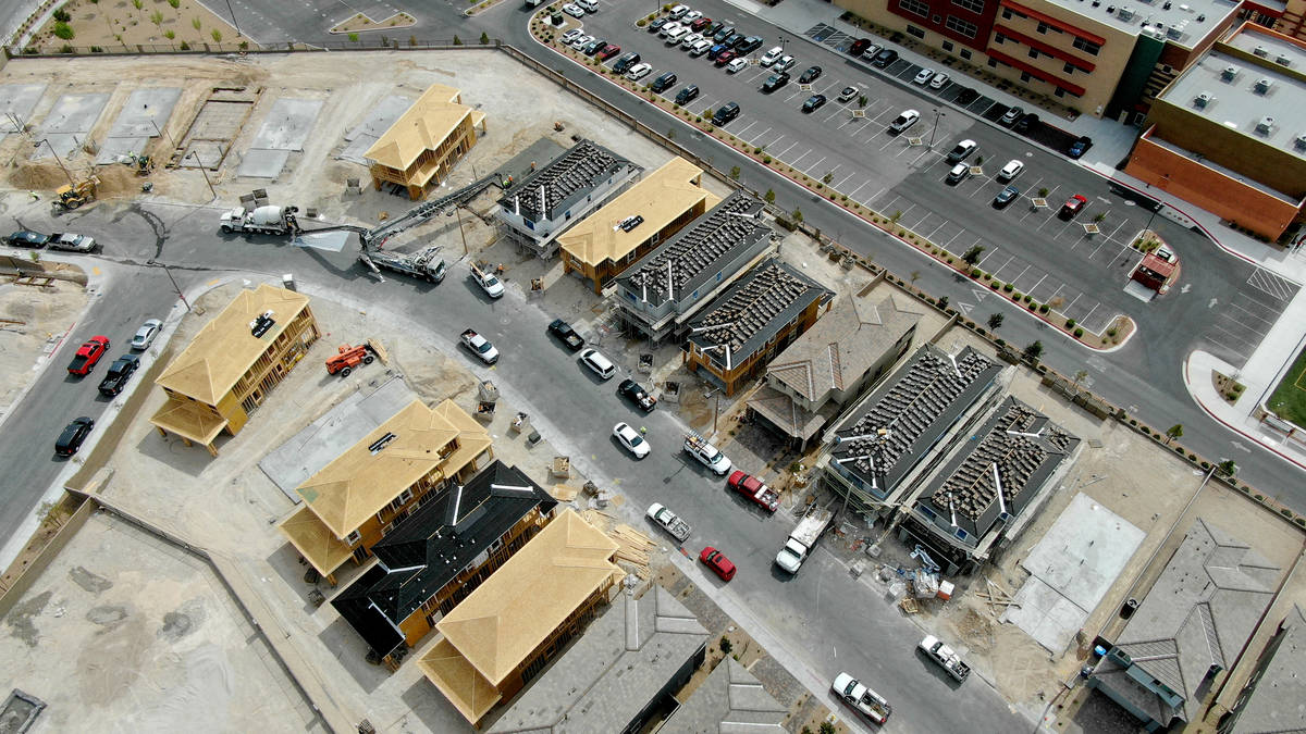 An aerial view of new home construction in Bristle Vale, a housing development near Doral Acade ...