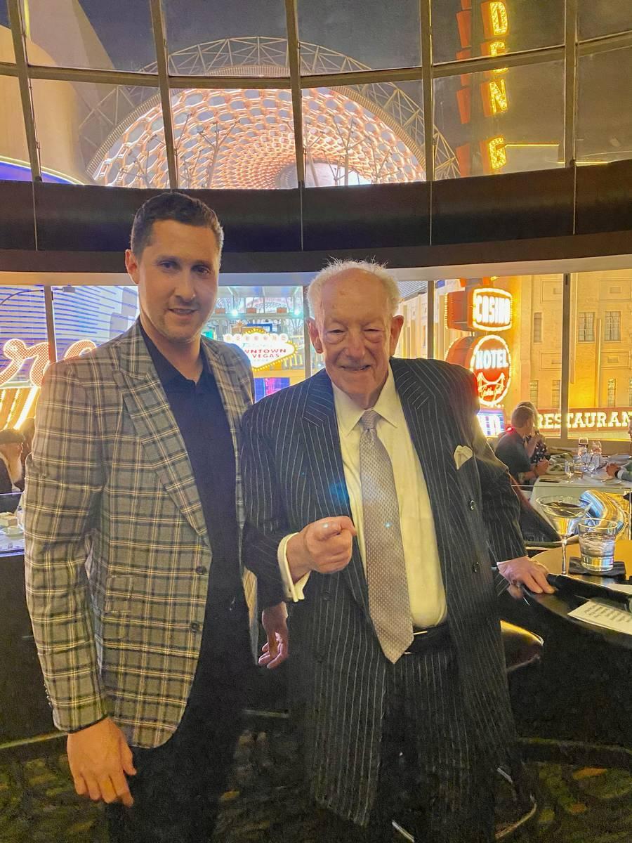 Plaza CEO Jonathan Jossel and former Las Vegas Mayor Oscar Goodman are shown at Oscar's Steakho ...
