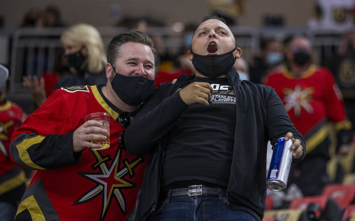 Golden Knights fans celebrate another goal during the first period of an NHL game at T-Mobile A ...