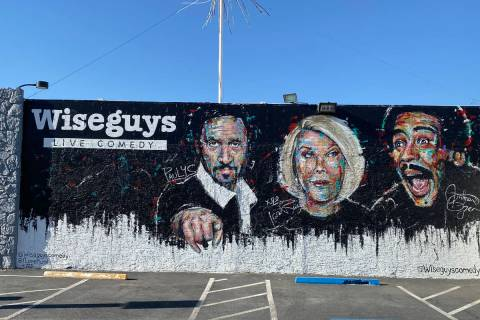 A look at the south-facing wall at Wiseguys Comedy Club in the Arts District at 1511 South Main ...
