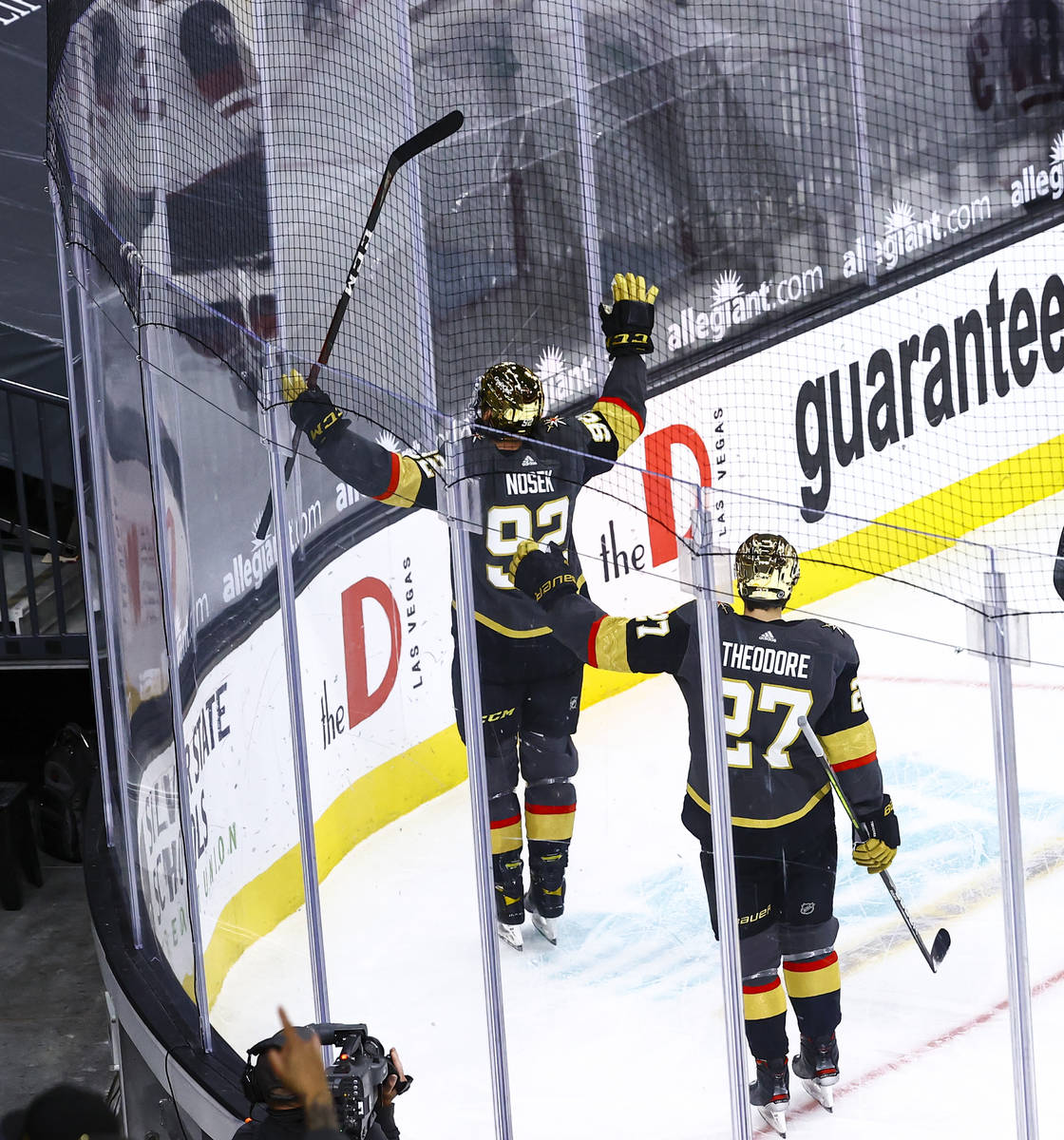 Golden Knights' Tomas Nosek (92) celebrates after scoring against the Arizona Coyotes during th ...