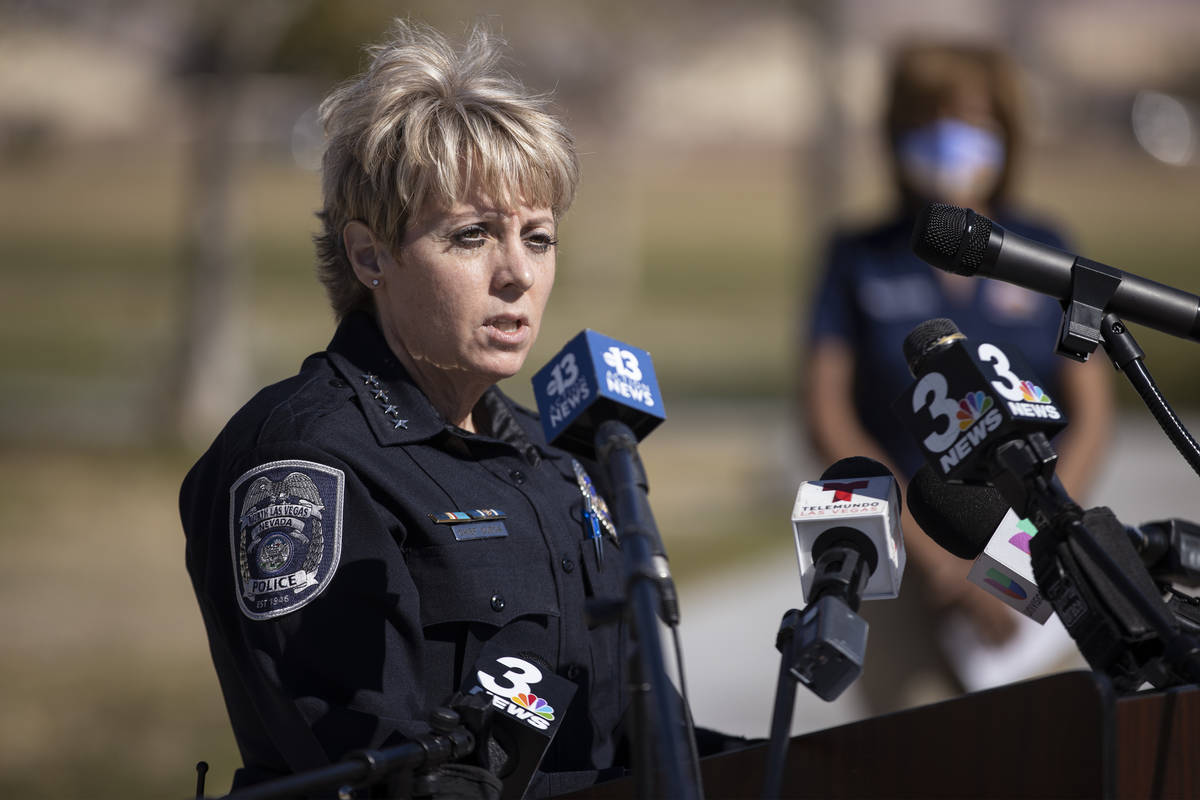 North Las Vegas Police Chief Pamela Ojeda speaks during a press conference calling for the rest ...