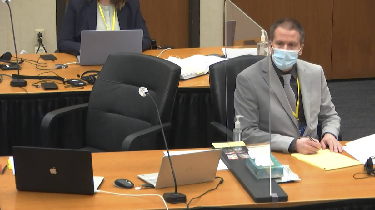 In this image from video, defendant, former Minneapolis police Officer Derek Chauvin, listens a ...