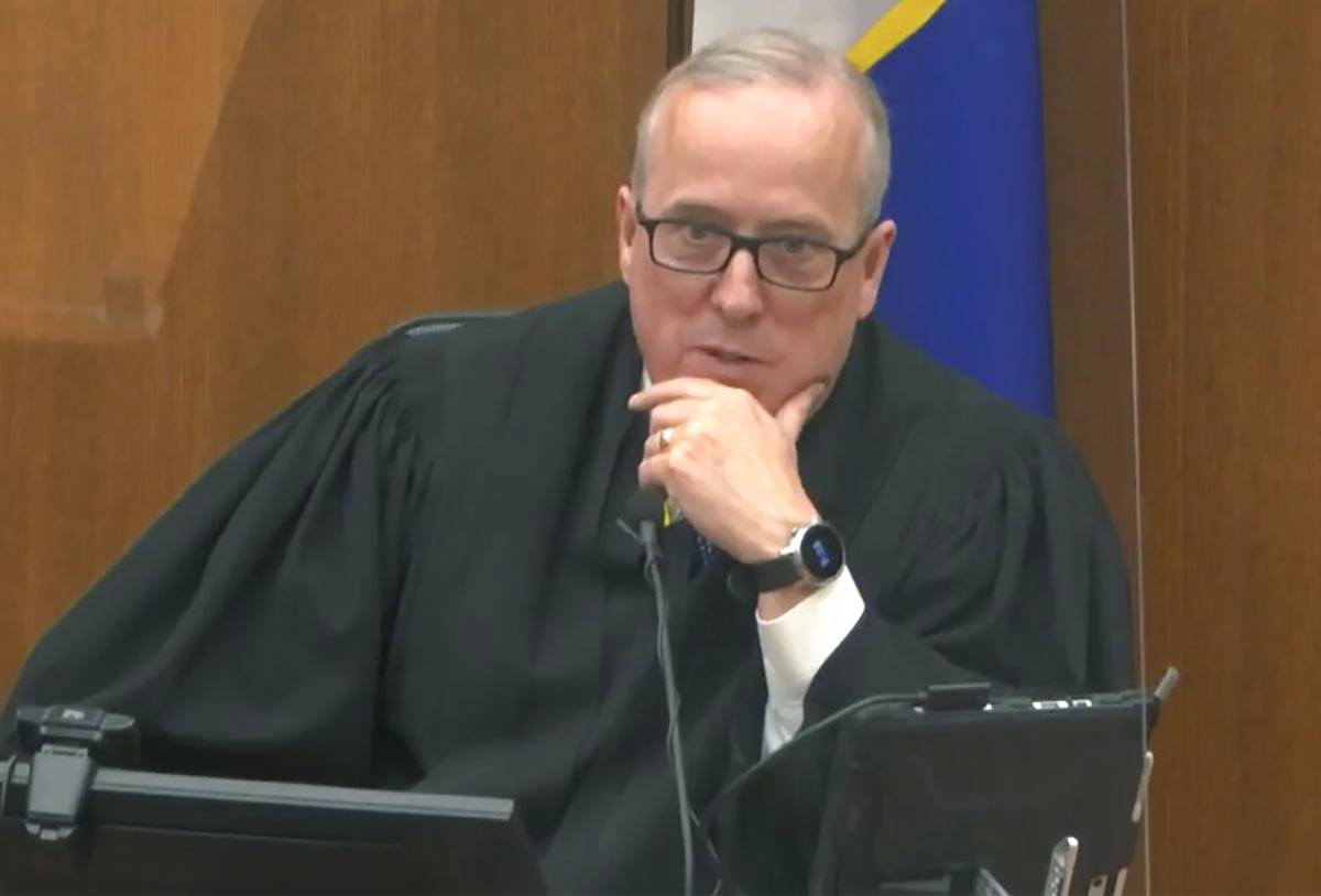 In this image from video, Hennepin County Judge Peter Cahill discusses motions before the ...
