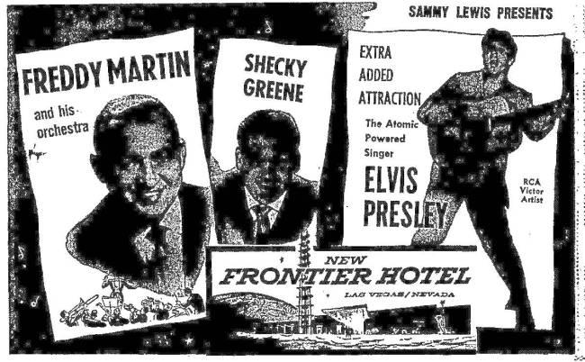 Review-Journal ad for Elvis Presley's Las Vegas debut