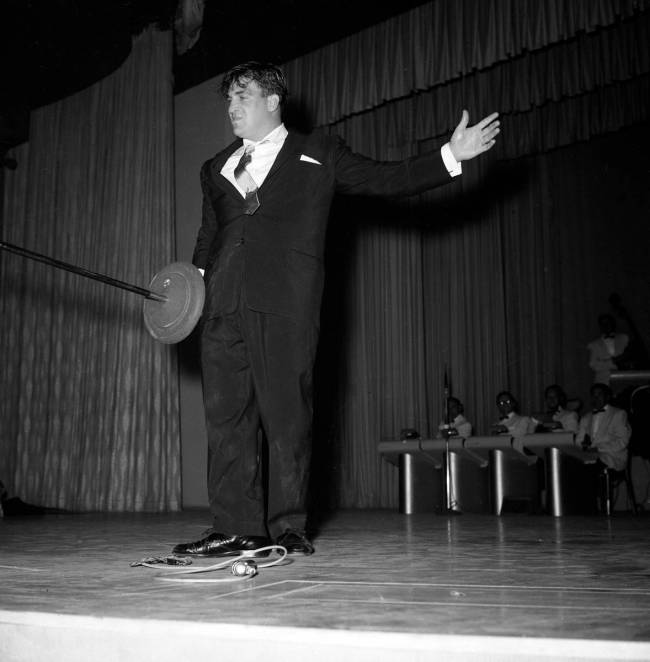 Shecky Greene performs on the same bill as Elvis Presley at the New Frontier April 30, 1956. (J ...