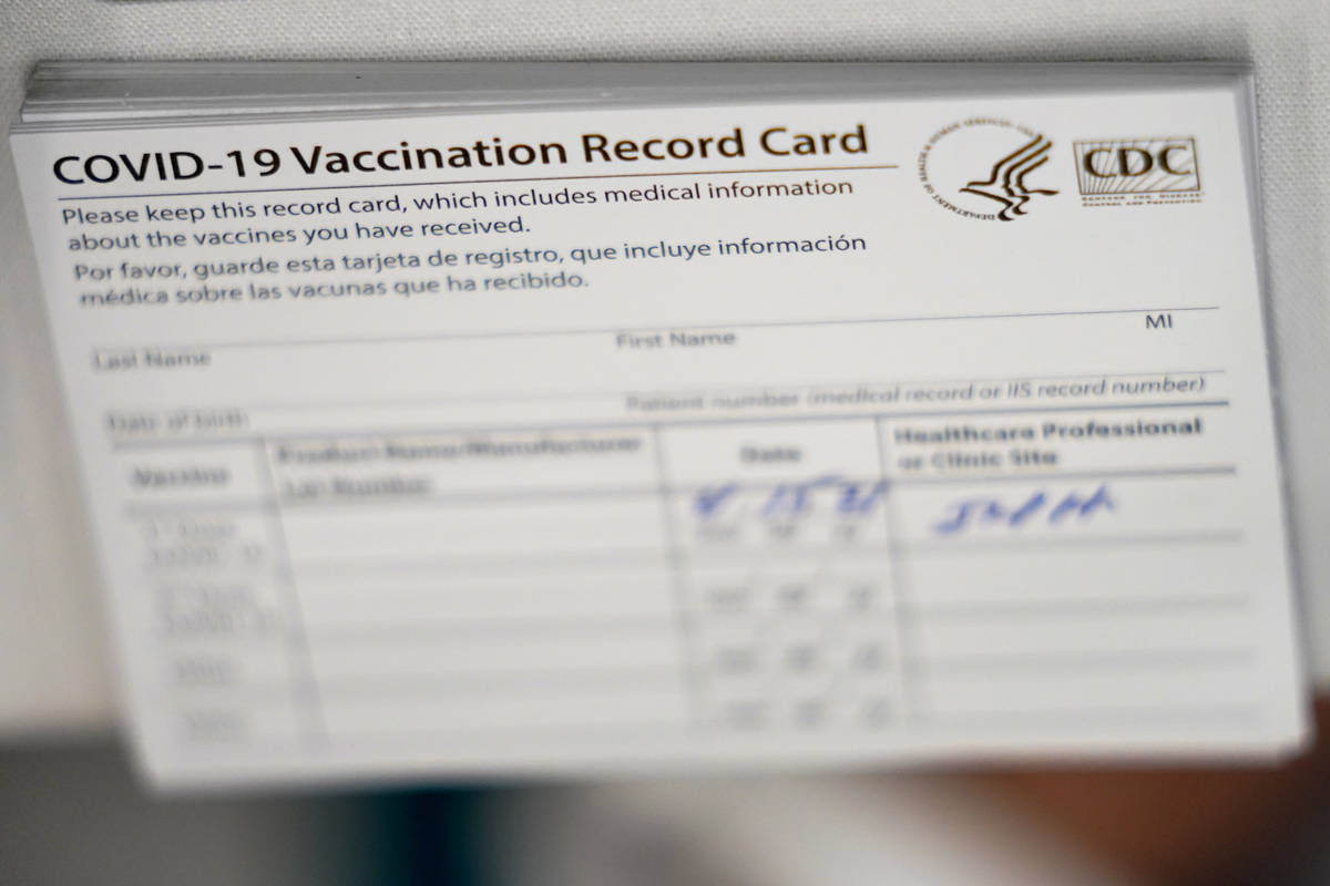 A file photo of a stack of COVID-19 vaccination record cards. Nevada Attorney General Aaron For ...
