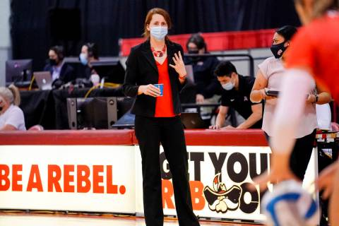 Mountain West Coach the Year Dawn Sullivan gives instructions at a match during the 2021 season ...