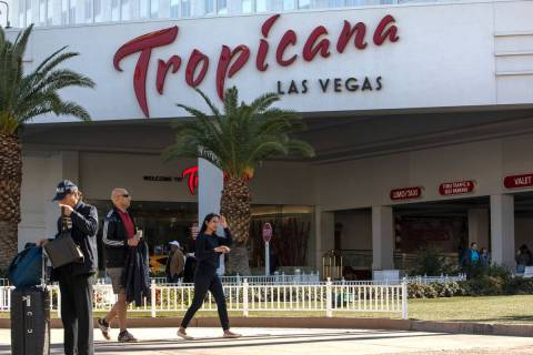 Tourists mill about in front of Tropicana on the Strip on Wednesday, Feb. 19, 2020, in Las Vega ...