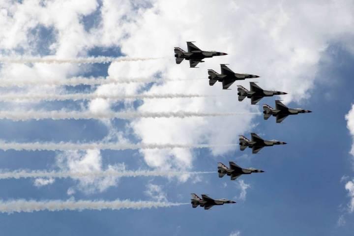 The Thunderbirds fly over Las Vegas on Monday, on Monday, Nov. 2, 2020, in Las Vegas. (Bizuayeh ...