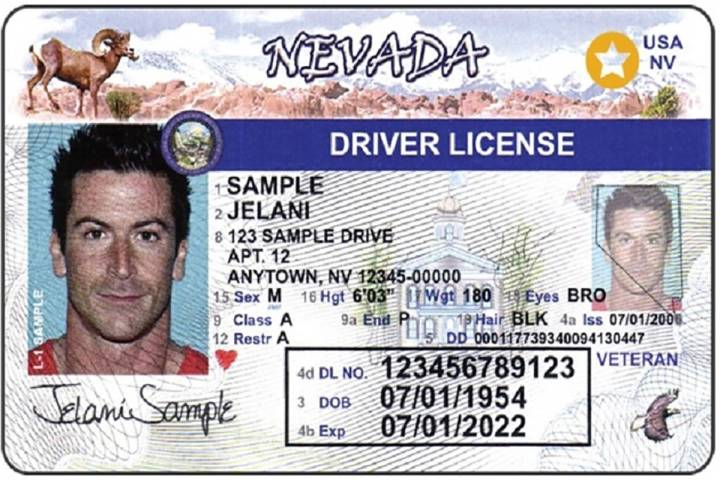 A sample of Nevada's Real ID, with the gold star on the top right. The DMV suggests getting you ...
