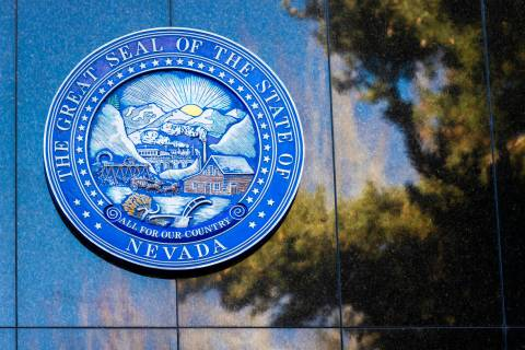 Signage at the Nevada State Legislature Building at the state Capitol complex in Carson City, N ...