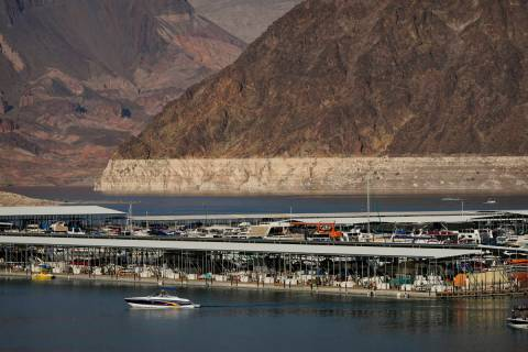 A bathtub ring of light minerals delineates the high water mark on Lake Mead at the Lake Mead N ...