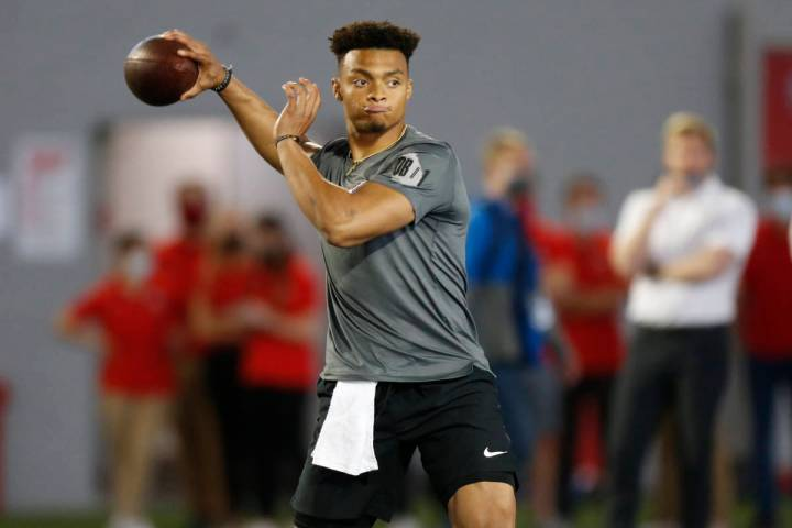 Ohio State quarterback Justin Fields throws during an NFL Pro Day at Ohio State University Tues ...