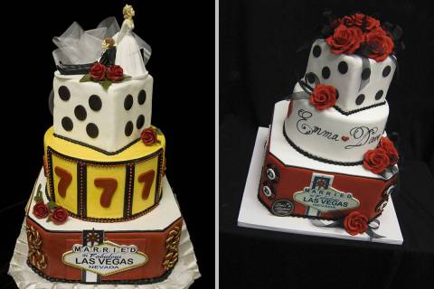 Vegas-themed cakes by Freed's Bakery, which is preparing to open a dessert shop in the Arts Dis ...