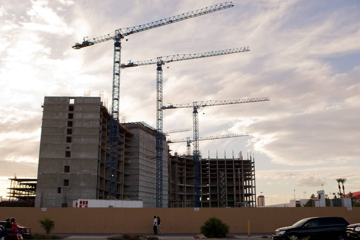 Construction cranes are shown idle at Boyd Gaming Corp.'s multibillion dollar Echelon construct ...