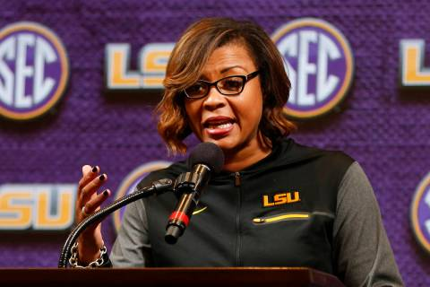 FILE - LSU women's NCAA college basketball head coach Nikki Fargas speaks during the Southeaste ...