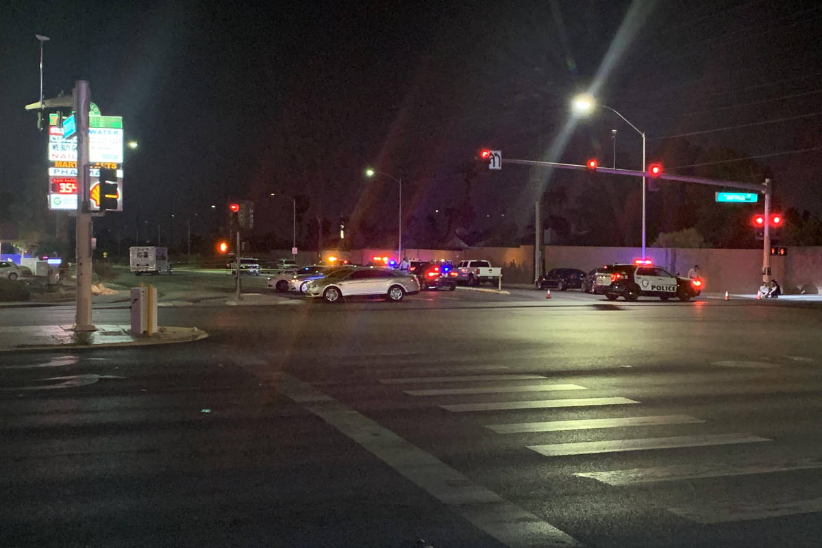 Las Vegas police on Friday, April 24, 2021, investigated a homicide near Westcliff and South Bu ...