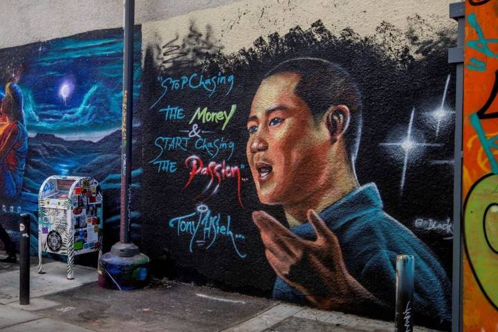 A mural dedicated to Tony Hsieh in the DT Alley near Fremont and 6th Street in downtown Las Veg ...