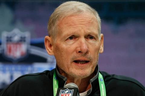 FILE - Las Vegas Raiders general manager Mike Mayock speaks during a press conference at the NF ...