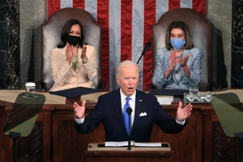 President Joe Biden addresses a joint session of Congress, Wednesday, April 28, 2021, in the Ho ...